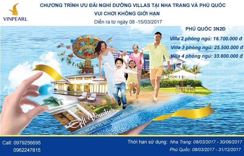 Chương trình Voucher ưu đãi nghỉ dưỡng Villas tại Nha Trang và Phú Quốc